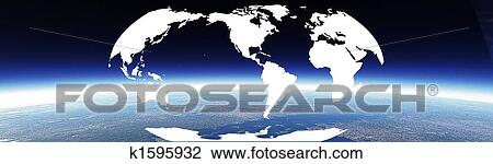 Clip Art Of Horizon And World Banner K1595932 Search Clipart