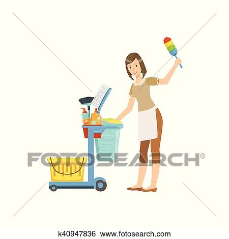 clip art of hotel professional maid with cleaning equipment cart