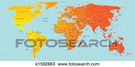 Zeichnung Karte Welt K1592863 Suche Clipart Illustration