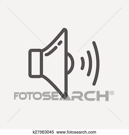 Clipart - lautsprecher, dünne linie, symbol k27563045 - Suche Clip ...