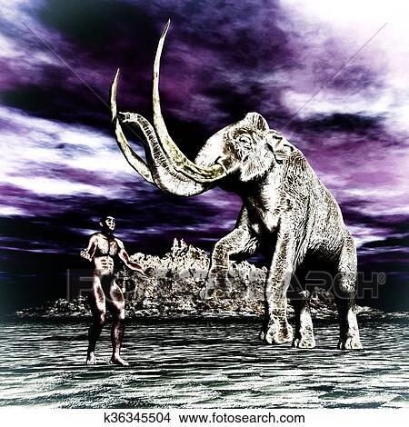 Mammut con uomo preistorico archivio illustrazioni k36345504