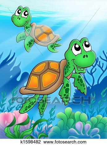 Clipart peu tortues mer k1598482 recherchez des - Dessin anime des tortues ninja ...