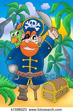 Pirate A Perroquet Et Poitrine Tresor Dessin K1598523 Fotosearch