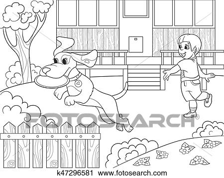 Clipart of Playing a boy in nature with a dog in frisbee coloring ...