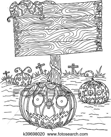 Pumpkin Zentangle In Halloween Clipart K39698020 Fotosearch