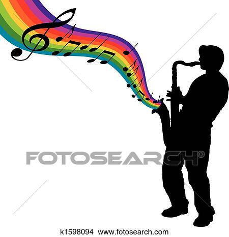 clipart of rainbow sax k1598094 search clip art illustration rh fotosearch com saxophone images clipart clipart saxophone player