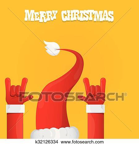 459580e1c01e Clipart - Santa Claus rock n roll icon vector illustration. . Fotosearch
