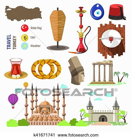 Turkey culture and traditional symbols. Clipart ...
