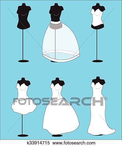 Clipart of wedding dress k33914715 - Search Clip Art, Illustration ...