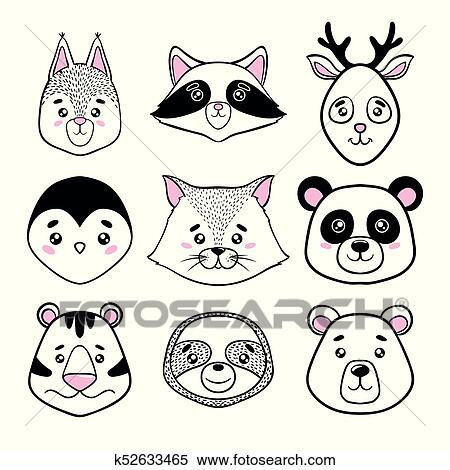 セット の かわいい 動物 顔 黒 White パンダ ナマケモノ