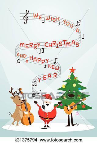 Babbo Natale Canzone.Babbo Natale Pupazzo Di Neve Renna Giocando Musica Cantare Uno Canzone Clipart
