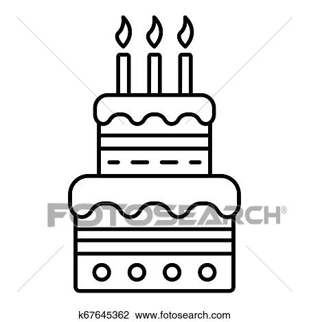 Swell Birthday Cake With Candles Icon Outline Style Drawing K67645362 Birthday Cards Printable Trancafe Filternl