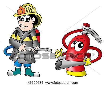 çizimler Itfaiyeci Ve Yangın Yangın Söndürücüsü K1609634