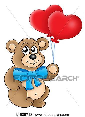 Dessin Ours Peluche A Coeur Ballons K1609713 Recherchez Des
