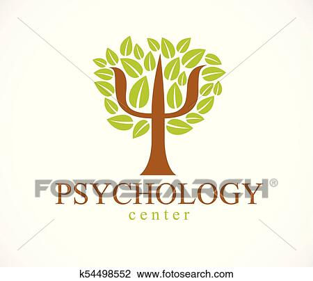 Clipart Of Psychology Concept Vector Logo Or Icon Created With Greek