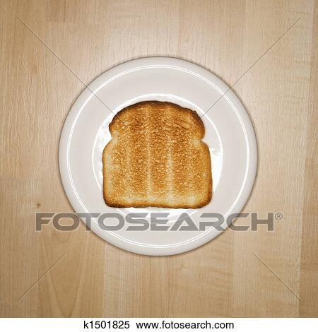 stock image of slice of toast on plate k1501825 search stock