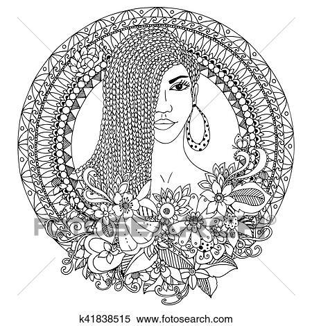 Vektor Abbildung Zentangl Mulatto Frau Mit Zöpfe Afrikanisch In Dass Blumen Runder Frame Doodle Ausmalbilder Anti Beanspruchen
