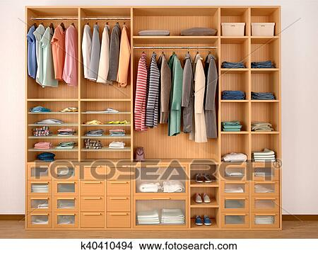 Drawings Of Wooden Wardrobe Closet Full Of Different Things 3d