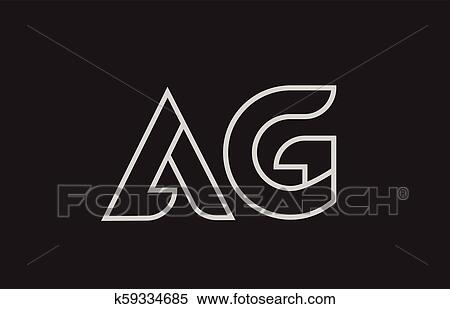 Clipart Of Black And White Alphabet Letter Ag A G Logo Combination