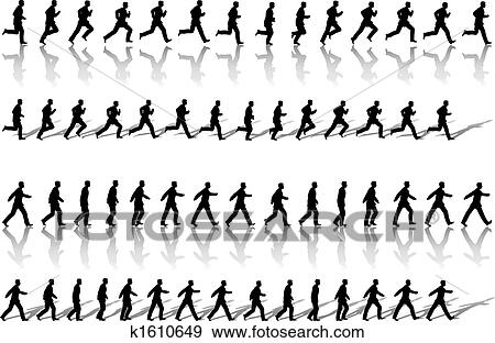 Clip Art of Business Man Frame Sequence Loops Run & Power Walk ...