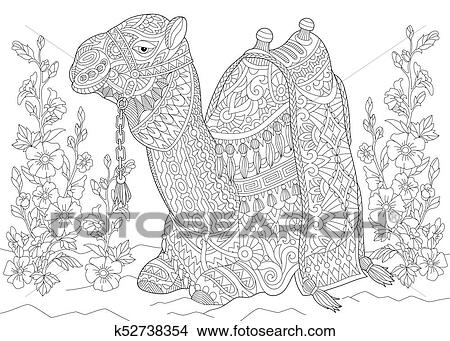 Clipart - camello, y, malva, flores k52738354 - Buscar Clip Art ...
