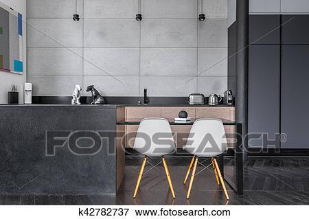 Colección de ilustraciones - cocina, con, gris, azulejos de pared ...