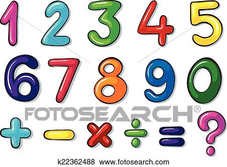 Clip Art Of Colourful Numbers And Mathematical Operations K22362488