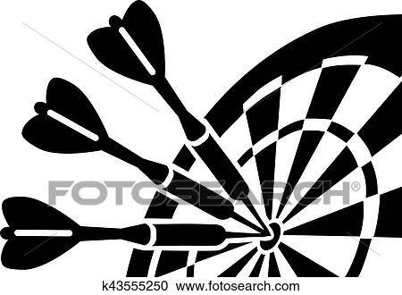 Clipart Of Dartboard With Darts K43555250 Search Clip Art
