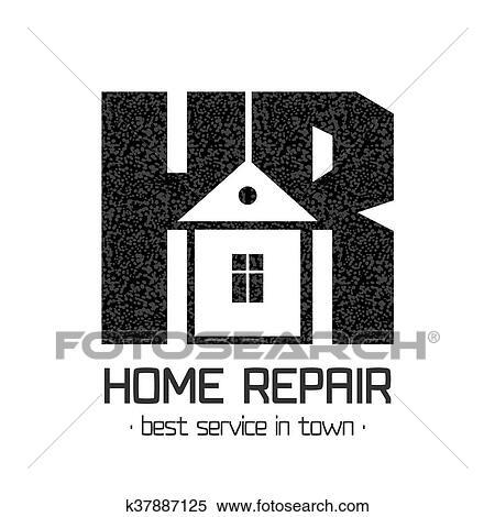 House Repair Vector Logo Badge Design Element Clipart