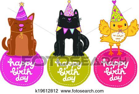 Joyeux Anniversaire étiquettes à Chat Chien Et Bird Clipart
