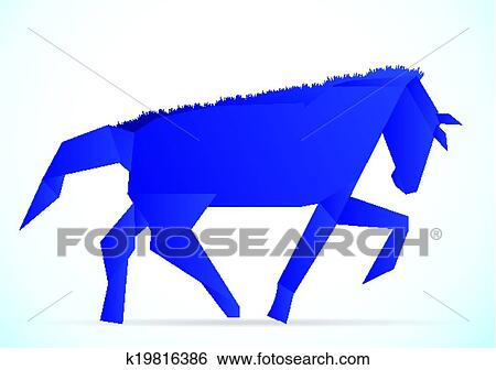 Clip Art Of Origami Horse K19816386 Search Clipart Illustration