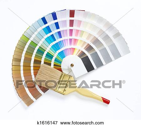 Picture Of Paint Brush And Color Chart K1616147 Search Stock
