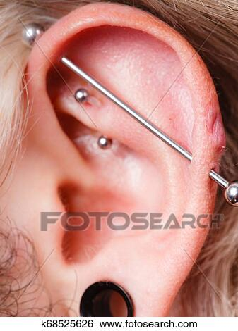 Pierced Man Ear Black Plug Tunnel Industrial And Rook Stock