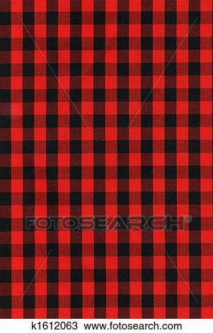 Red And Black Checkered Fabric Texture Stock Image K1612063