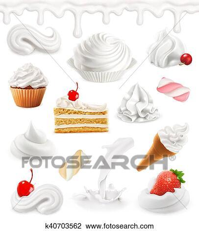 ホイップクリーム ミルク アイスクリーム ケーキ Cupcake Candy