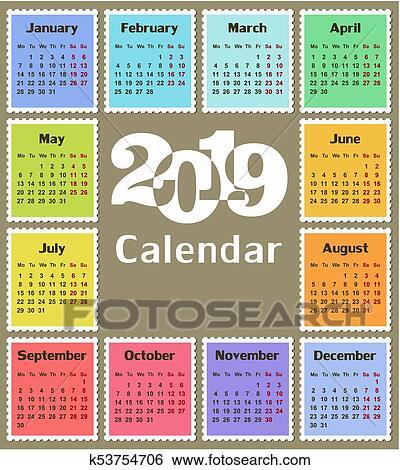 Visualizza Calendario.Calendario Per 2019 Clip Art