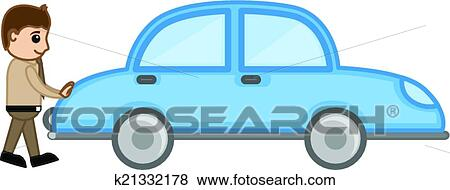 clip art of cartoon man pushing car vector k21332178 search
