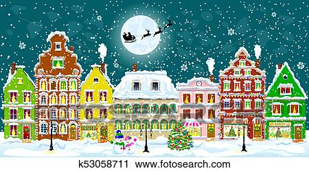 clipart city on christmas eve fotosearch search clip art illustration murals - Christmas Eve Clipart