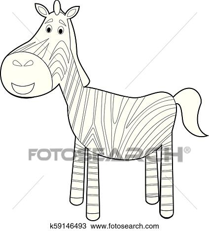 Easy Coloring Animals for Kids: Zebra Clipart | k59146493 ...