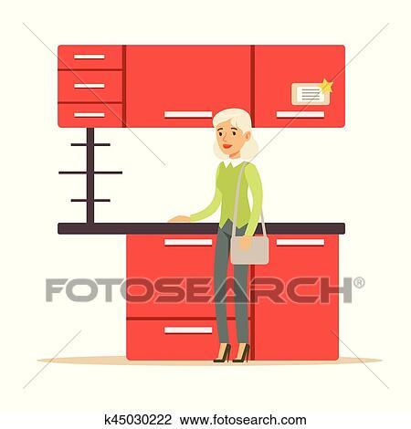Femme Achat Rouges Cuisine Ensemble Sourire Acheteur Dans Magasin Meubles Achats Pour Maison Decor Elements Clipart