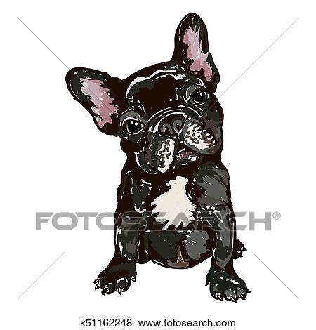 Illustrazione di cane razza bulldog francese clip art