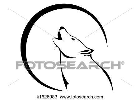 Dibujo Lobo Y Luna K1626983 Buscar Clip Art Ilustraciones De