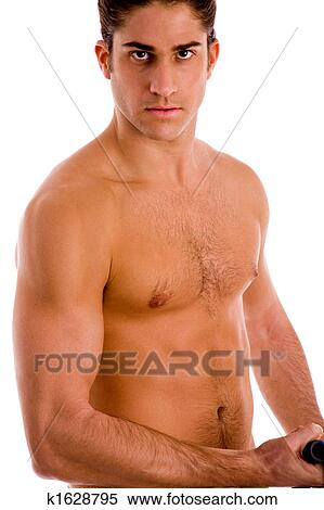 Stock Image Of Man With No Shirt And Muscles K1628795 Search Stock