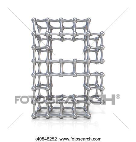 Clip Art Of Metal Lattice Font Letter B 3d K40848252 Search