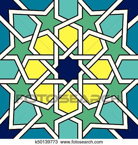 Moroccan Tile Design Moorish Seamless Vector Pattern Geometric Abstract Tiles Clipart