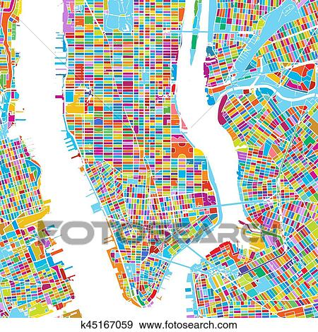 Colorful Map Of Usa.Clip Art Of New York City Usa Colorful Vector Map K45167059