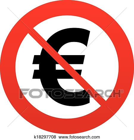Clip Art Of No Euro Sign Icon Eur Currency Symbol K18297708
