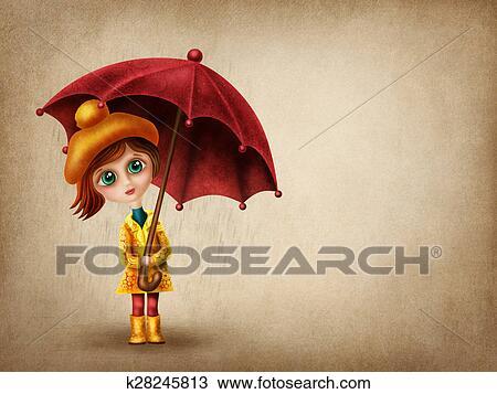 Petite Fille à Parapluie Dessin