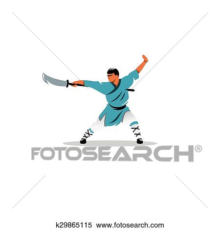 Shaolin Monge Com Um Espada Sinal Vetorial Illustration