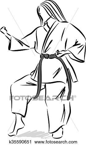 Woman Karate Illustration Clipart